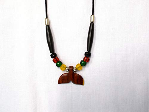 Exotic Rose Wood Whale Tail Pendant Glass Rasta Color Accent Beads ADJ Necklace KEZ-3870