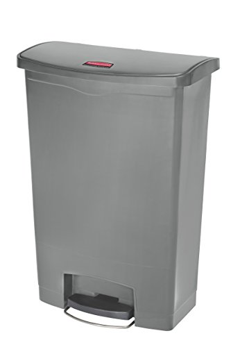 Rubbermaid Commercial 1883606 Slim Jim Resin Step-On Wastebasket, Front Step Style, 24 Gallon, Gray by Rubbermaid Commercial Products