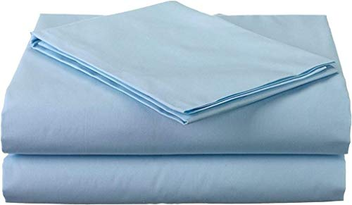 True linen 4PCs Sheet Set 100% Egyptian Cotton 600 Thread Count Full Light Blue Solid (15