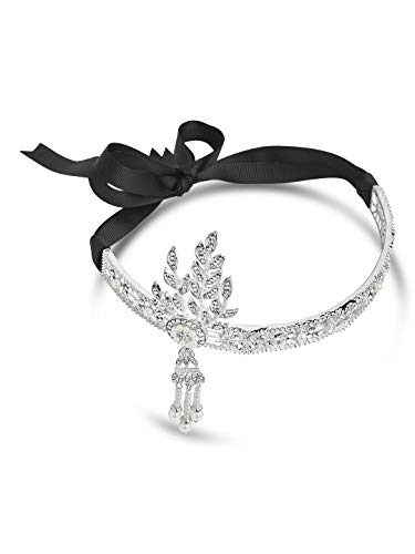 Sterling Forever - Gatsby Inspired Art Deco Wedding Tiara Headpiece (Black) by Sterling Forever