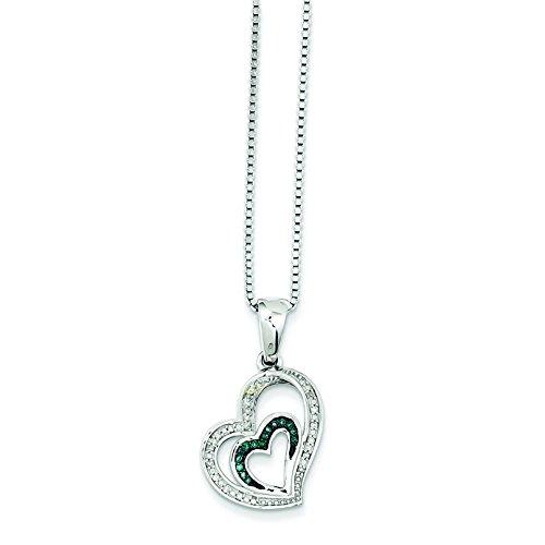 Argent 925/1000-Bleu et Blanc Pendentif en forme de cœur avec diamants bruts JewelryWeb