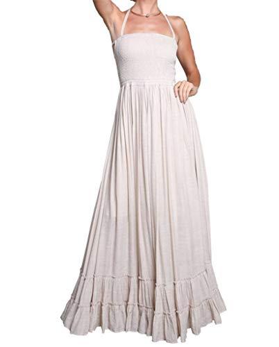 - Wishlist Smocked Halter Double Cross Back Ruffled Maxi Dress-Natural-Large