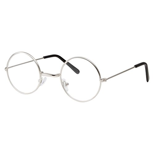 Kids Size Non-Prescription Glasses Round Circle Frame Clear Lens Costume (Age 3-10) Silver