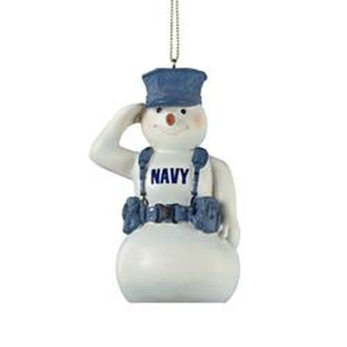U.S. Navy Snowman Saluting in Gear Christmas Ornament