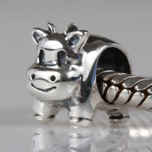 Hoobeads Jewelry Animal 925 Solid Sterling Silver Charm Pig&owl&cat&puppy Dog&horse&seahorse&turtle&rabbit (Cow)