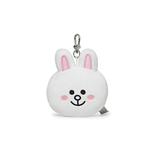Keychain Face - LINE FRIENDS Plush Keychain Ring - CONY Character Face Cute Soft Bag Charm Key Holder, 4 inch, White
