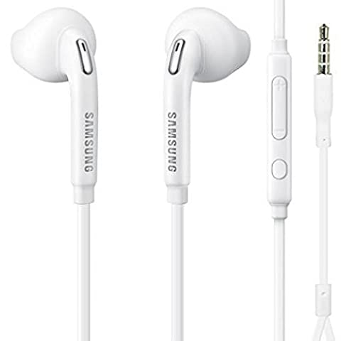 Headset Samsung 3.5mm Handsfree Earphones w Mic Dual Earbuds Headphones Earpieces In-Ear Stereo Wired White for Samsung Galaxy J3, J5, J7, Note 3 4 5, Edge, S5, S6, Edge, Edge+, S7, (Bluetooth Aux Adapter Beats)