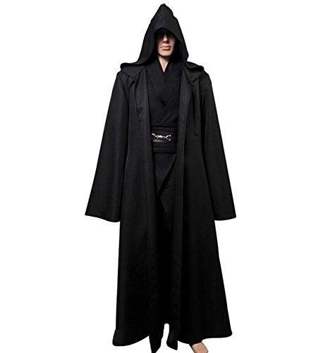 L'vow Fashion Gothic Hooded Mens Black Feather Cape Cloak Long Coats