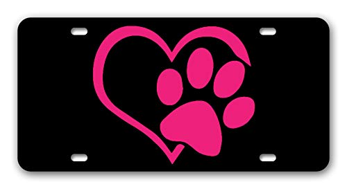 (BLINYS Funny License Plate Cover with 4 Holes Unique Design Car Tag - Paw Heart - Front License Plate Designed Decorative Metal Car License Plate Auto Tag 6 x 12 Inch)