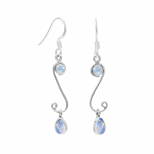 (4.10ct,Genuine Rainbow Moonstone & 925 Silver Plated Dangle Earrings Made By Sterling Silver Jewelry)