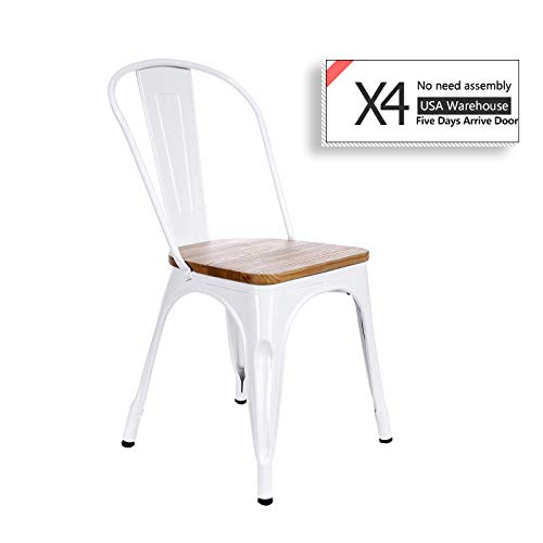 White Metal Chair Wood Seat Restaurant Cafe Bar Chair Metal Industrial Stackable Bistro Dining Chairs White Set of 4 ()