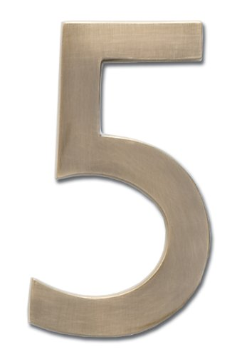 Architectural Mailboxes 3585AB-5  Brass 5-Inch Floating House Number 5, Antique Brass (Antique Brass Mailbox)