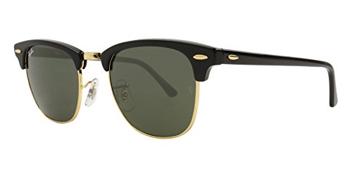 Ray-Ban RB3016 Clubmaster Sunglasses Black Gold w/Gray Green Lens W0365 RB ()
