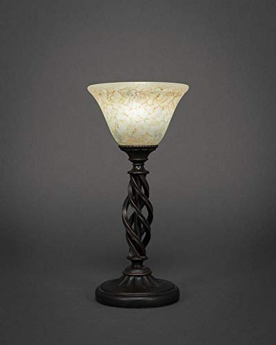 (Mini Table Lamp w Italian Marble Glass in Dark Granite Finish)