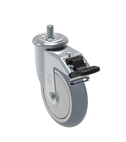 "Schioppa GLEFD 512 BPE G L12 Series 5"" x 1-1/4"" Diameter Swivel Caster with Total Lock Brake, Non-Marking Thermoplastic PVC Precision Ball Bearing Wheel, 10 mm Diameter x 25 mm Length Threaded Stem, 250 lb,Gray"