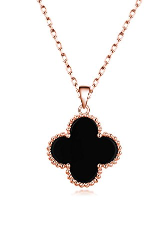 Unique Creative Gift Woman s925 Pure Silver Rose Gold Color Four-Leaf Clover Necklace Pendant Chain Women Girls Clavicle (s925 Silver Inlay Onyx Rose Gold monaural ()