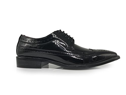 Enzo Romeo Keda03 Mens Faux Patent Two Tone Tuxedo Wingtip Oxfords Perforated Lace Up Dress Shoes Black/Black SG2brDGcZ