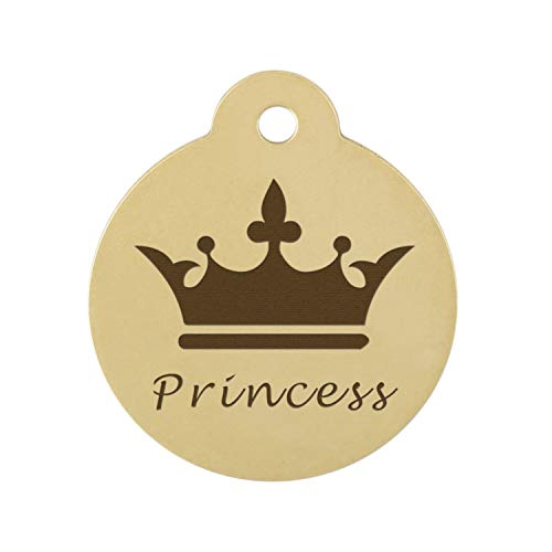 dogIDS Signature Personalized Crown Dog ID Tag - Solid Brass - 1.25 Inch Diameter