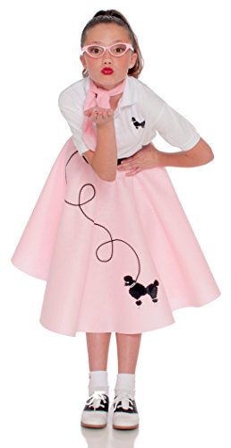 Poodle Skirt for Girls Size Small 4/5/6 Light Pink by Hip Hop 50s Shop (Image #1)
