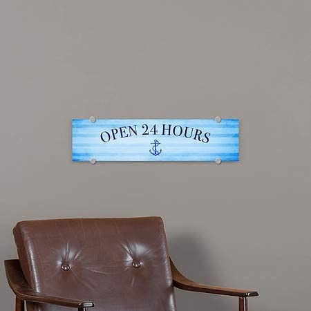 24x6 CGSignLab Nautical Stripes Premium Acrylic Sign Open 24 Hours 5-Pack