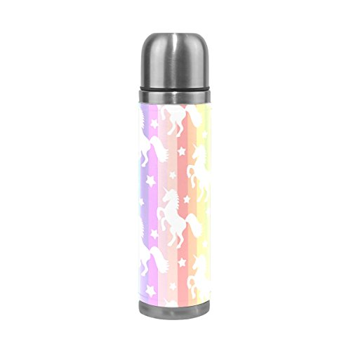 ALAZA Unicorn Stainless Steel Water Bottle Double Wall Vacuum Insulated Leak Proof and No Sweating Thermos Keep Your Drinks Hot and Cold 17 Oz(500ml)