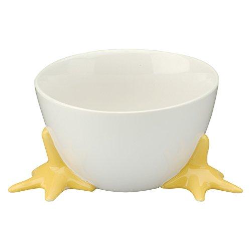 - BIA Cordon Bleu Bowl with Chicken Feet -- White Stoneware Ceramic Bowl with Feet, 19 Oz (Easter Candy Dish, Chicken Kitchen Decor)