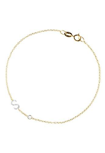 Diamond initial and mini bezel bracelet, personalized bracelet by Zoe Lev Jewelry