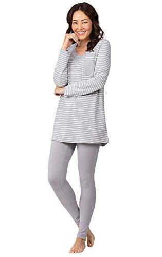 Addison Stripe - Addison Meadow Cozy Womens Pajamas - Womens PJs Sets, Gray Stripe, L, 12-14