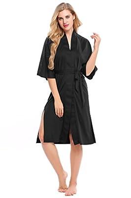 Ekouaer Women Pure Color Kimono Robes Lightweight Knee Length Bridesmaids Robes