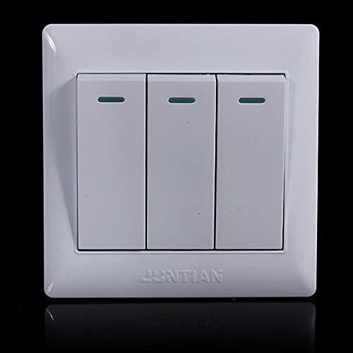 Universal 10A Power 3 Gang 1 Way Wall Plate Light Lamp Bulb Push Button Switch