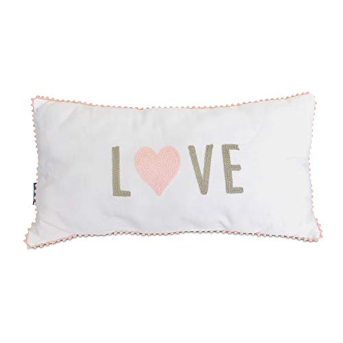 Living Textiles Decorative Cushion (Pink Love). Baby or Nursery Chair Cushion with Textured Embroidery Design.