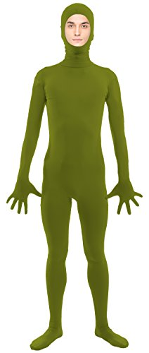 VSVO Adult Army Green Open Face Full Body Zentai Supersuit Costumes (Small, Army Green) (Sexy Holloween Costumes)