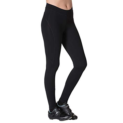Terry Breakaway Cycling Tights for Women - Ladies Riding Biking Full Length Compression Foam Padded Bike Bottoms Pants - Black - Medium ()