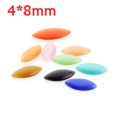 Pukido 30pcs/lot Mixed Color Flatback Natural Stone Oval Horse Eyes Cat Eye Cabochon Beads 4x8mm 6x12mm 9x18mm for DIY Jewelry Making - (Color: 4x8mm)