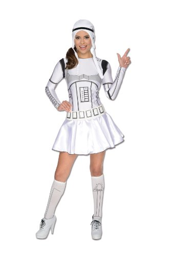 [Secret Wishes Star Wars Female Storm Trooper, White/Black, Large] (Darth Vader Chest Plate Costume)