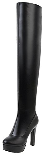 Mofri Women's Sexy Chunky High Heel Platform Round Toe Pull on Skinny Thigh High Long Boots with Side Zipper (Black, 8 B(M) ()