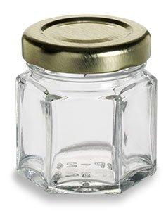 Hex Glass Honey Jar 24 x 2oz w/Lid (case)