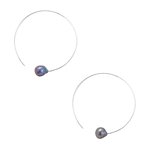 Chan Luu Halo Silver Hoop Earrings with Peacock Pearls ()