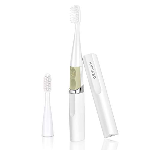 White Travel Electric Toothbrush by Gevilan with 2 Modes Battery Powered, Waterproof and Portable Lipstick Mini Design for Daily Oral Beauty Care,Trip