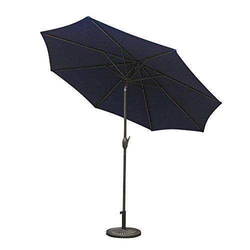 9 Umbrella Market Base (Aok Garden 9ft Antique Brown finish Market Outdoor Umbrella W/Crank system and tilt function with 220g PA coating Sunshade Navy Blue)
