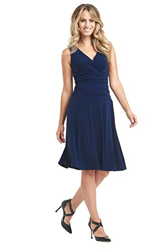 Rekucci Women's Slimming Sleeveless Fit-and-Flare Tummy Control Dresses (18,Navy)