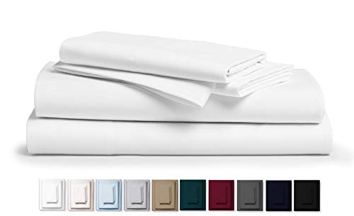 Kemberly Home Collection 800 Thread Count 100% Pure Egyptian Cotton - Sateen Weave Premium Bed Sheets, 4- Piece White Queen- Size Luxury Sheet Set, Fits mattresses Upto 18