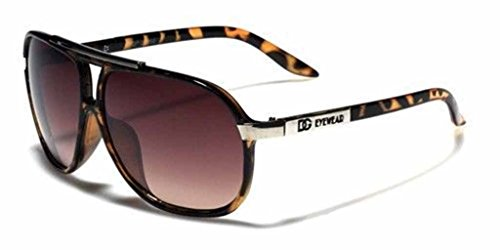 Mens Womens Retro Vintage 80s Classic Fashion Designer Aviator Sunglasses Black-Tortoise/Amber Lens (2)