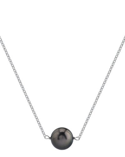 (THE PEARL SOURCE 14K Gold 10-11mm Round Black Tahitian South Sea Cultured Pearl Solitaire Pendant Necklace for Women in 18