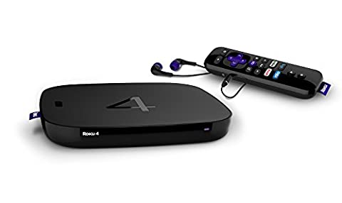Roku 4 | HD and 4K UHD Streaming Media Player with Enhanced Remote (Voice Search, Lost Remote Finder, and Headphone), Quad-Core Processor, Dual-Band Wi-Fi, Ethernet, and USB (Roku Streaming Sticks)