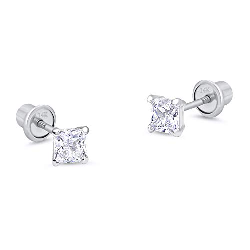 14k White Gold 3mm Basket Princess Cut Cubic Zirconia Children Screw Back Baby Girls Earrings