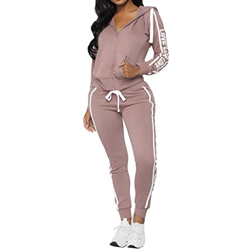 Fashion Women Casual Stripe Zipper Long Sleeve Pullover Sleeves Sport Tops+Long Tracksuit Sweatshirt Hoodies Pants Set by iLUGU (Image #6)