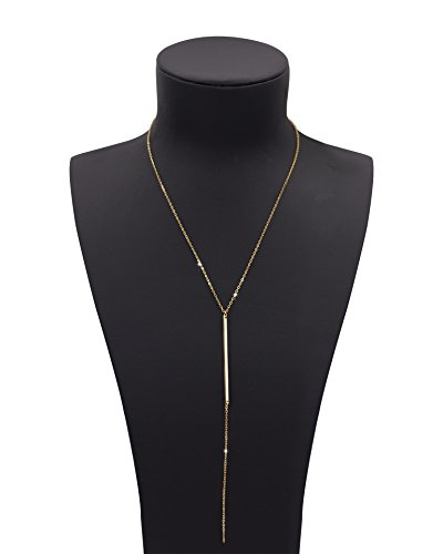 Geerier Gold Chain Y Type Simple Bar Necklace Pendant Long Lariat Necklace