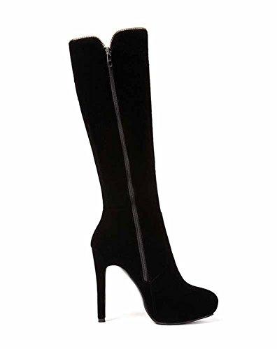 Otoño Mujer de Nueva Moda Botas de Alto Negro Lateral 2018 GLTER Invierno Tacón Botas Negro de Altas Alta Plataforma Cremallera IqxRt8