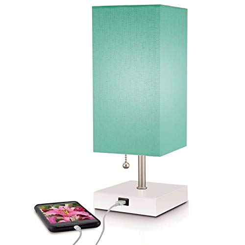 Modern Teal Aqua Lamp, USB Port w New Improved 2 amp Charger for Quick Phone Charging, Pull Chain, Linen Shade, Bedroom Nightstand, End, Desk, Office & Living Room Tables, 5% ()